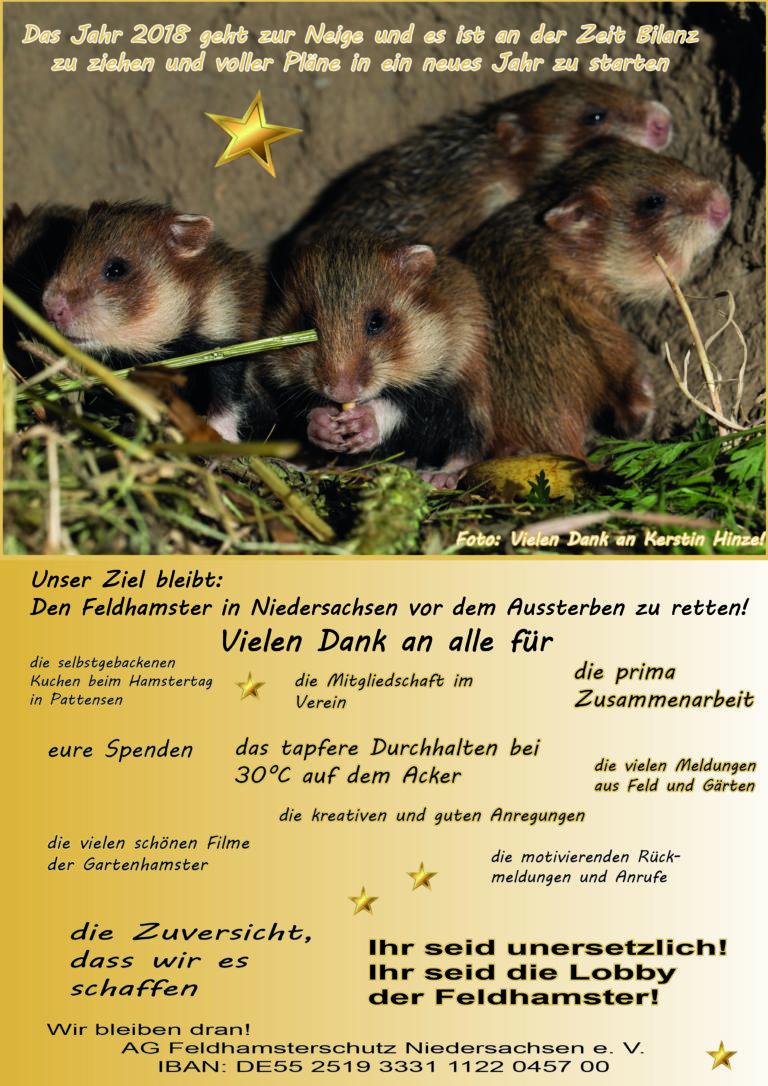 AG Feldhamsterschutz zum Jahreswechsel