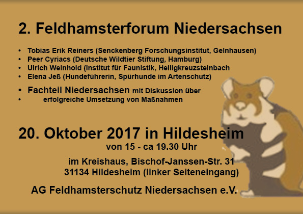 Ankündigung Feldhamsterforum 2017
